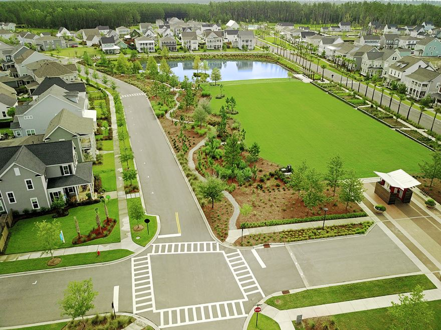 Overhead view of streets, homes and park at the Nexton development near Charleston.