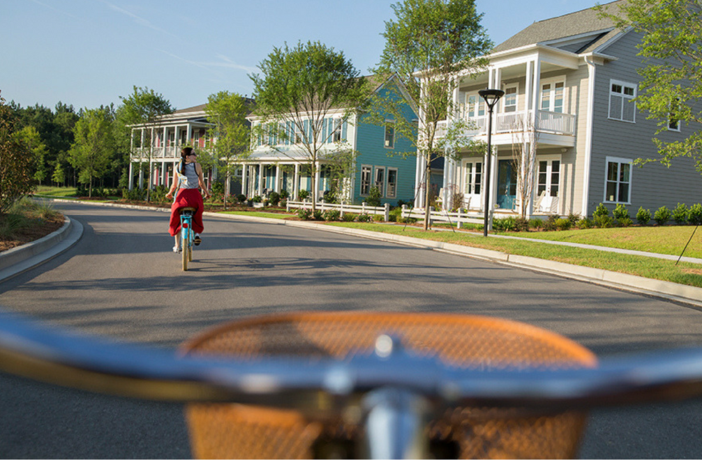 Bike Riding down a road in the Nexton development in Summerville, SC.
