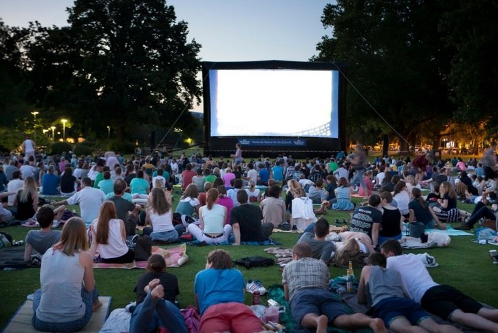 Outdoor movie night in Brown Family Park in Nexton