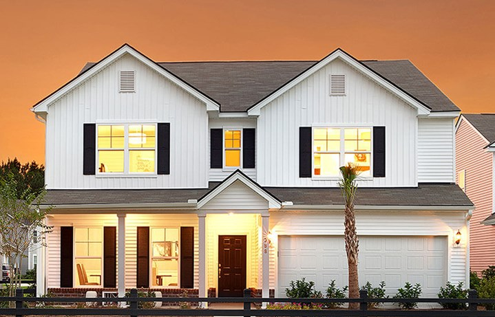 Exterior of two-story Mitchell model home by Centex in Nexton.